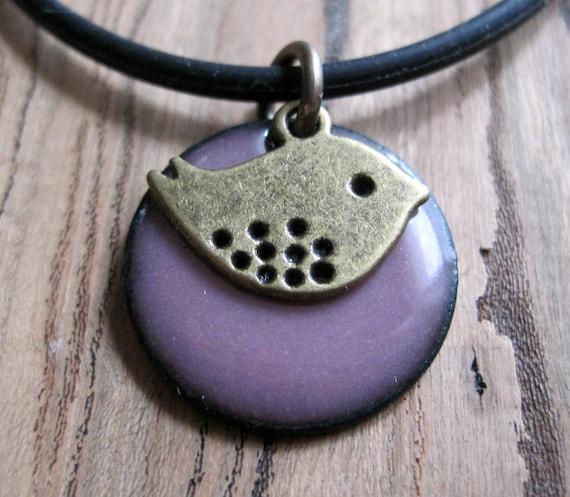 Bird Jewelry, Bird Necklace, Purple Enamel Jewelry, Copper Enamel, Sweet Birdie, Aubergine Peep