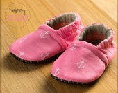 Pink Anchors Baby Booties, Crib Shoes, Pink Slippers, Eco-Friendly Baby Items