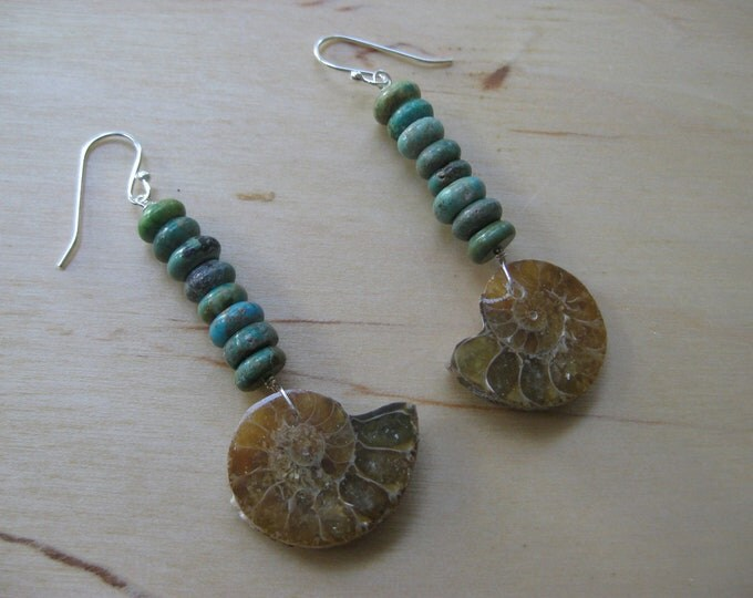 Insouciant Studios Inland Sea Earrings Turquoise and Ammonite