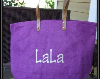 Purple Monogrammed / Personalized Large Jute Tote Bag