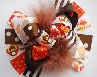 boutique FUNKY fun ORANGE and BROWN Thanksgiving Turkey hair bow clip