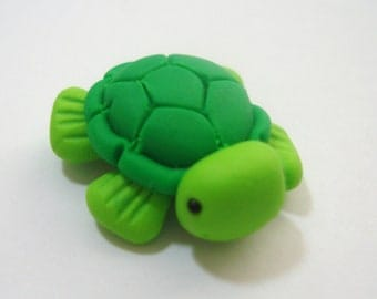 Sea Turtle Polymer Clay Charm Bead, Scrapbooking, Bow Center, Pendant, Cupcake topper, Magnet, Ring