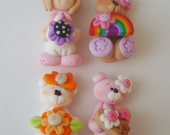 Mini Mix Set Pink Bear, Rainbow, Orange, Retro Girl Polymer Clay Charm Bead Scrapbooking Embelishment Bow Center Pendant Cupcake Topper