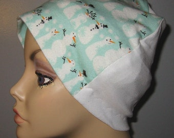 FREE SHIP USA Snowpeople Flannel Sleep Cap, Chemo Hat, Cancer Hat, Turban