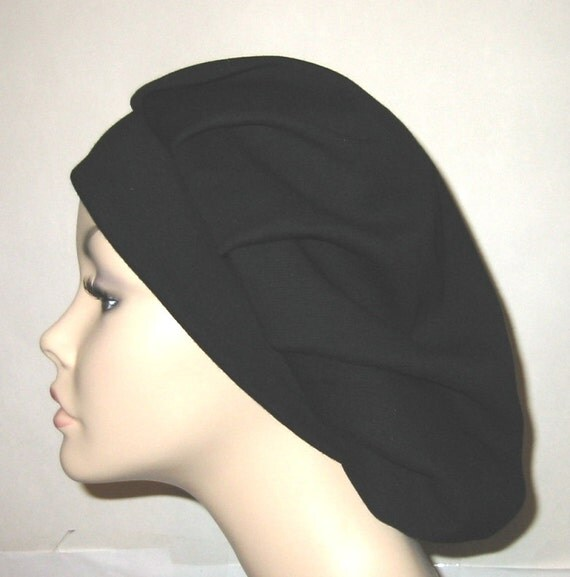 Tichel, Womens Black  Pleated Snood, Hijab, Hair Loss, Chef Hat