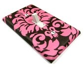 Brown and Pink Damask Light Switch Cover Girls Nursery Decor Switchplate Switch Plate Kids Lighting