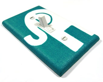 Emerald Turquoise Blue Elephant Decor Light Switch Cover Boys Nursery Decoration Kids Bedroom Lightswitch Switch Plate