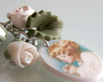 White Rose Purse Charm - Polymer Clay