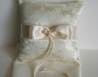 """Ring Bearer Pillow """"Valerie """" In Brocade Ring Boy Choose White or Ivory Ring Pillow"""