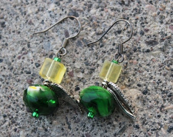Green and yellow Oregon earrings