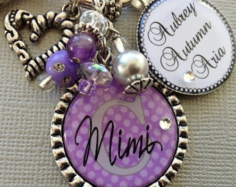 Personalized Grandma Keychain, Personalized gift, Children's Names Aunt gift, Mother's day gift, Nana, Mimi, Mom, Heart Charm, Birthday gift