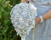 Crystal teardrop cascading brooch bouquet -- deposit on a made-to-order wedding bouquet