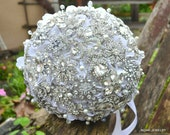 Deposit on a crystal vine heirloom brooch bouquet -- made to order brooch bridal bouquet