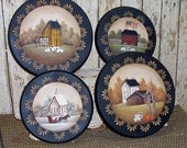 Stove Burner Covers Hand Painted Primitive Folk Art 4 Season Saltbox OFG team