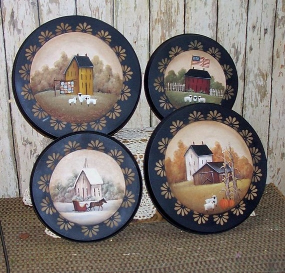 Custom Listing Stove Burner Covers Hand Painted Primitive