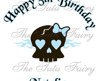 Girl Skull light blue Birthday shirt t-shirt name age personalized baby toddler 12 18 2t 3t 4t 5t 5/6 7 1st first