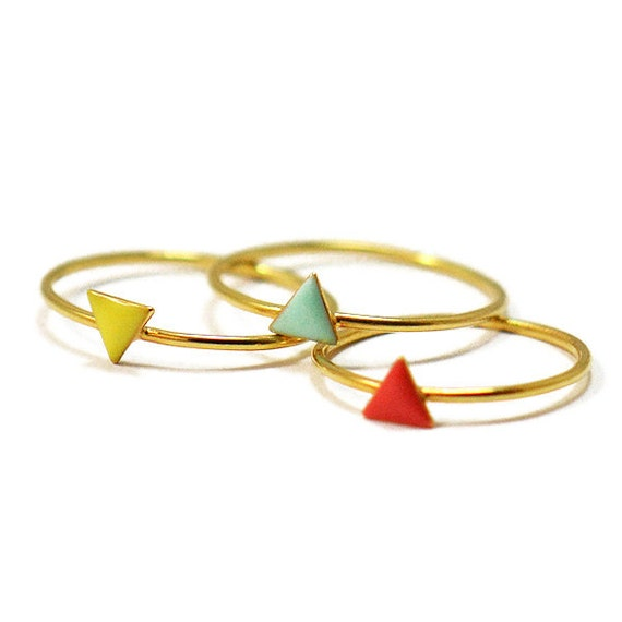 Dainty Colorful Triangle Ring // Stackable and Delicate Mini Geometric Rings // stacking ring