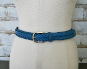 Vintage Blue Woven Leather Belt Braided ML Medium Large