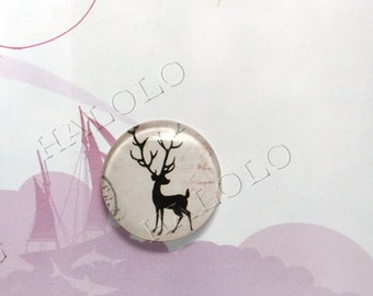 4pcs deer round clear glass dome cabochons 25mm (250464)