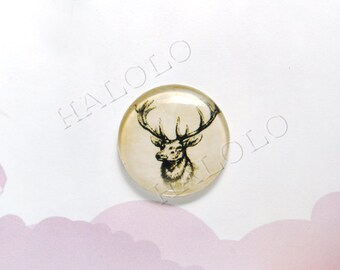 4pcs deer head round clear glass dome cabochons 25mm (250461)