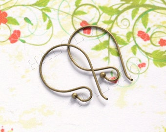 50pcs handmade lead free and nickel free antique bronze finish kidney earwire ear hook  (0694)