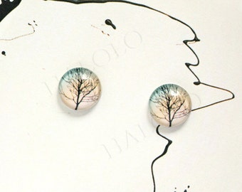 Sale - 10pcs handmade tree round clear glass dome cabochons 12mm (12-0615)