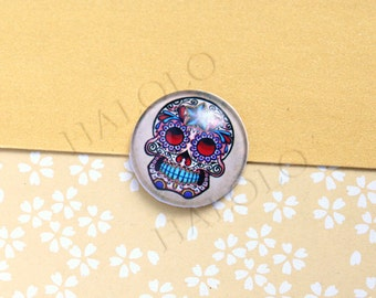 4pcs handmade skull round clear glass dome cabochons 25mm (250633)