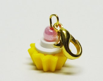 Custom White and Yellow Cupcake Charm