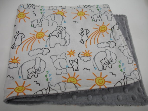 You Are My Sunshine Elephants Baby Burp Cloth with Minky