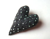 Heart Brooch Heart Felt Brooch Boho Chic Heart Jewelry Unique Fashion Accessory Mint Green Polka Dots Dark Grey Handmade Mother's Day Gift