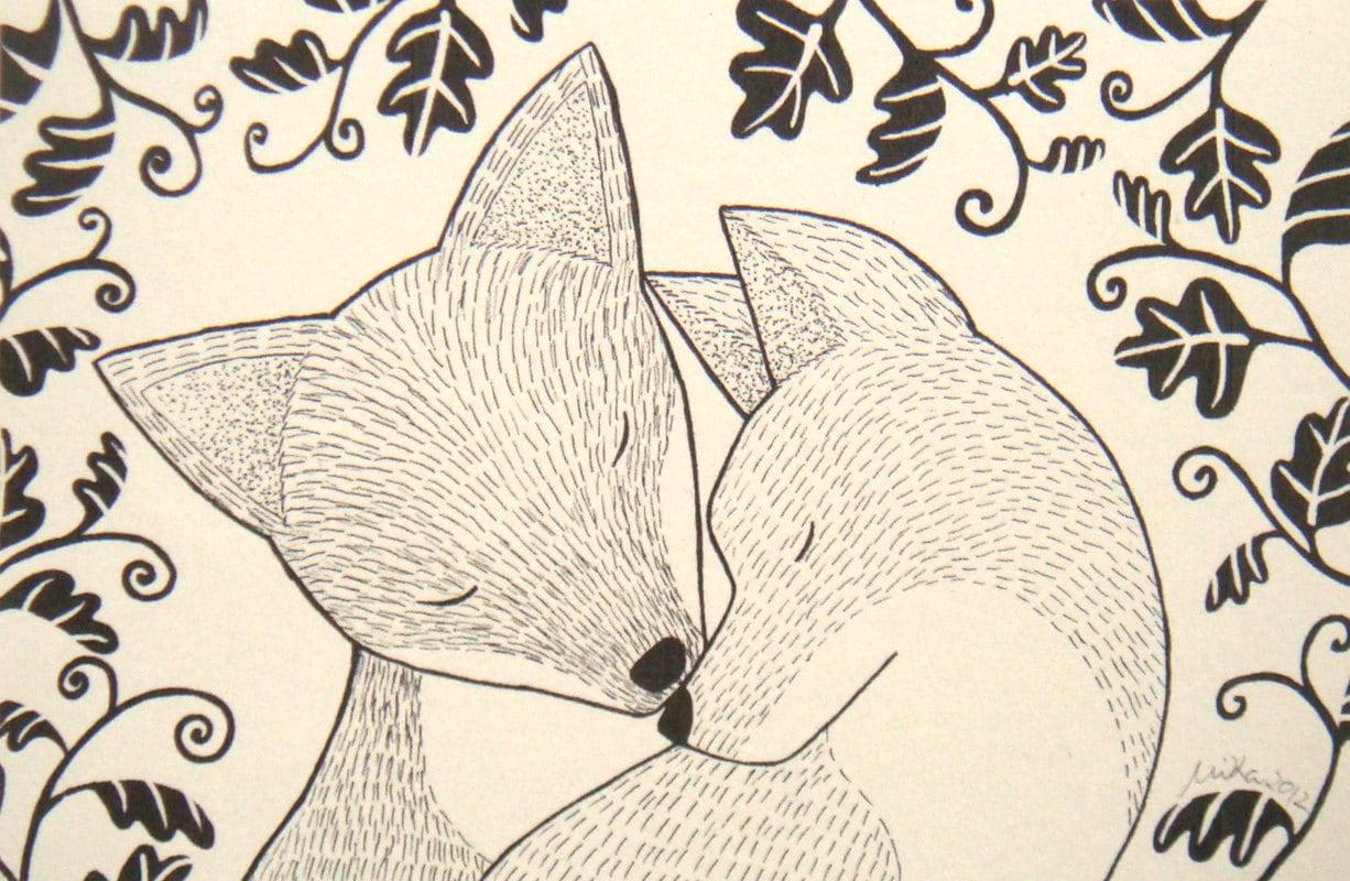 fox ink drawing love illustration print black u0026 white wall
