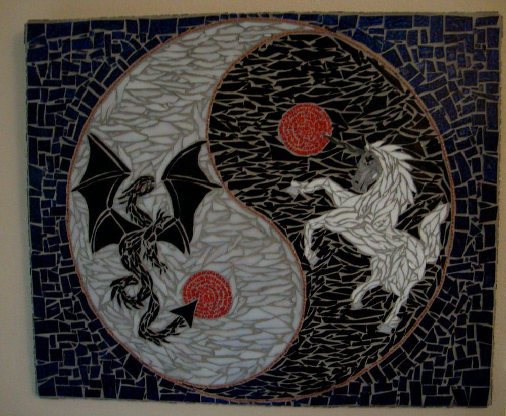Dragon And Unicorn In Yin Yang Mosaic Art Titled The Dance