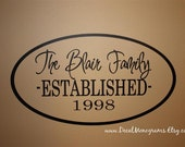 Personalized Oval Family Vinyl Wall Decal