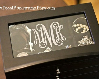 Etched Glass Monogram Vinyl Decal