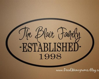 Established Oval Family Vinyl Wall Decal