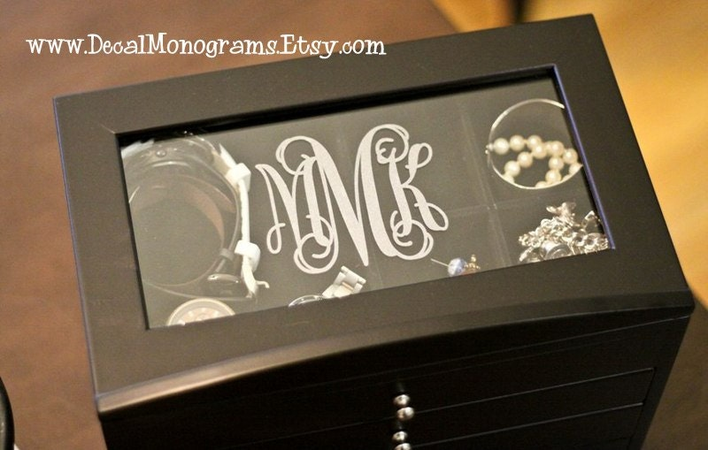 Etched glass monogram vinyl decal for Etched glass vinyl lettering