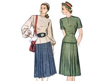 """1940s Sewing Pattern / Simplicity 1721 / 1940s Skirt & Blouse Set / Bust 34"""" Waist 28"""""""