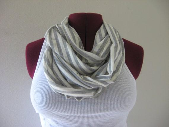 Infinity scarf gray/ivory stripe, READY TO SHIP