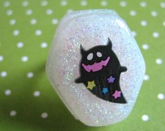 Halloween Black Ghost Resin Ring
