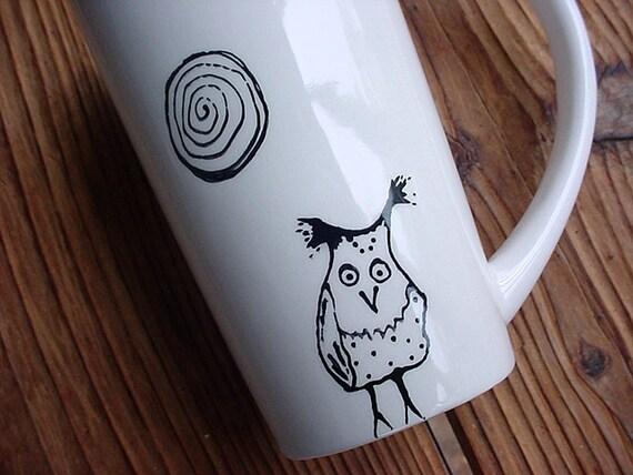 Hazel owl pottery coffee mug latte black and white 16 ounces tall pottery mug