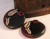 Set of 2 One-of-a-kind Ottoman Style Tulip Handmade Buttons...