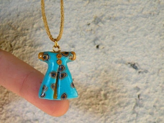 Turquoise Gold Mini Power Dressing Pendant Necklace -  Ottoman Caftan - Evil Eye