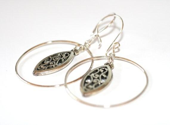 Sterling Silver Hoop Filigree Earrings