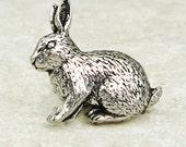 Rabbit Tie Pin. Antiqued Pewter Tie Tack Pin