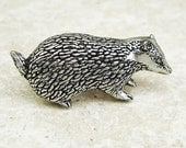 Badger Tie Pin. Antiqued Pewter Tie Tack Pin