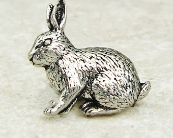 Rabbit Tie Pin. Antiqued Pewter Tie Tack Pin