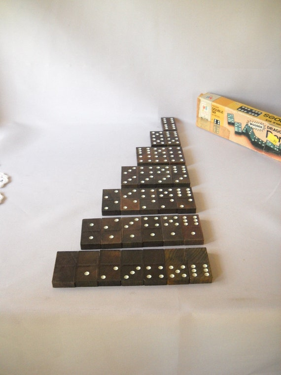 Boxed Set of 28 Vintage Double Six Dominoes Wooden Milton Bradley Halsam Brown White Dots