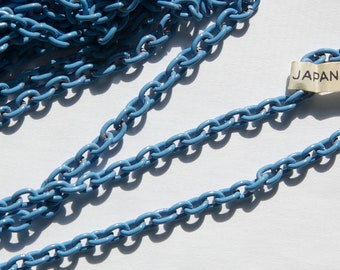 Vintage Medium Blue Enameled Chain Japan chn019C