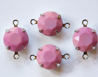Vintage Opaque Pink Faceted Glass Stones 2 Loop Silver Plated Settings 12mm rnd005Q2