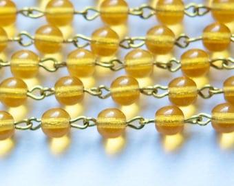 Topaz Czech Glass Bead Chain 6mm Raw Brass Links chn138